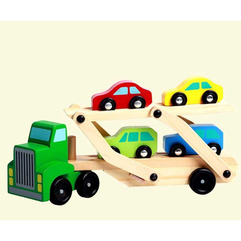 Camion Transportator Mașini din lemn + 4 Mașini