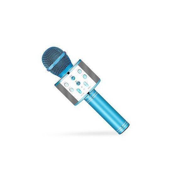 Microfon Karaoke WS-858  cu Bluetooth si boxa inclusa Albastru